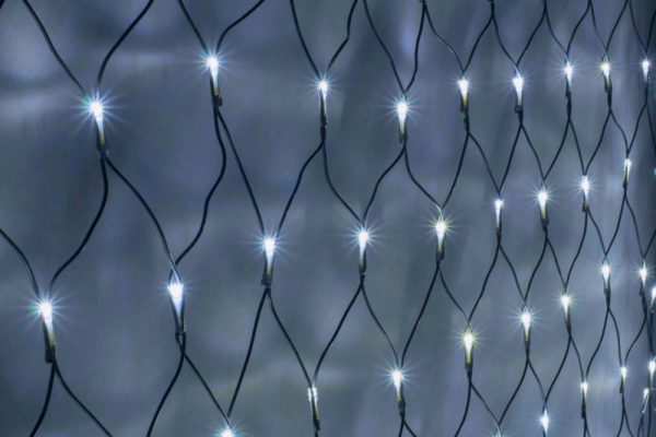 Гирлянда-сеть 2х1,5м, черный ПВХ провод, постоянное свечение, белая