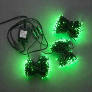 Гирлянда-спайдер 3х20м, 600LED, черный провод, зеленый