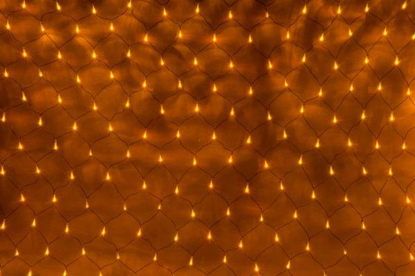 Гирлянда-сеть 2х1,5м, черный ПВХ провод, с контроллером, желтая