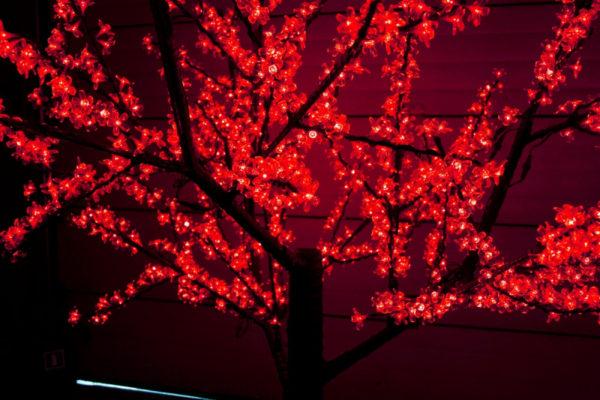 Сакура светодиодная 1728LED, H2,5м D2,0м, красное 2