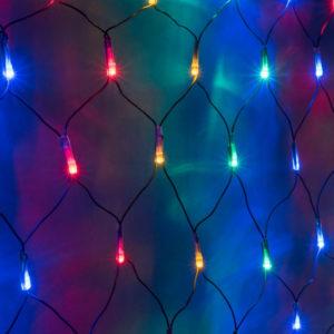 Гирлянда-сеть 2х3м, черный ПВХ провод, постоянное свечение, мульти