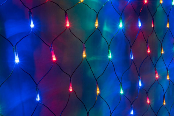 Гирлянда-сеть 2х3м, черный ПВХ провод, постоянное свечение, мульти 1