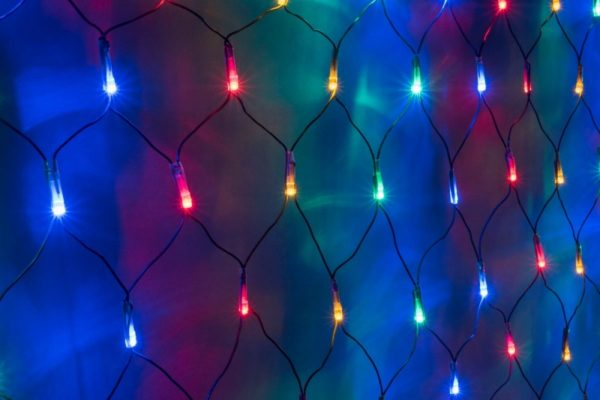 Гирлянда-сеть 2х1,5м, черный ПВХ провод, постоянное свечение, мульти 1
