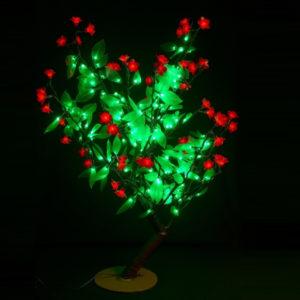 Куст 224LED, 0,8х0,8м, красные цветы/зеленые листья