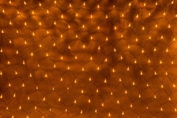 Гирлянда-сеть 2х3м, черный ПВХ провод, с контроллером, желтый