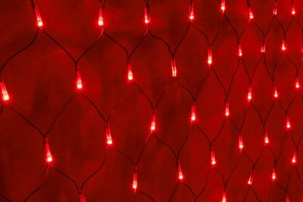 Гирлянда-сеть 2х2м, черный ПВХ провод, постоянное свечение, красная 1