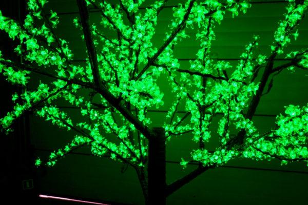 Сакура светодиодная 1728LED, H2,5м D2,0м, зеленое 1