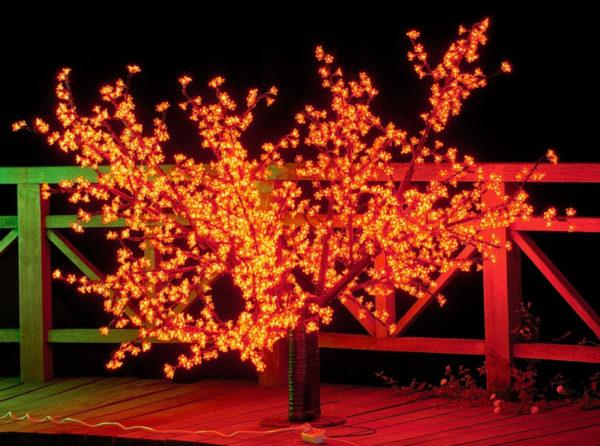 Сакура светодиодная 1728LED H1,7м D2,3м, 18 ветвей, красное