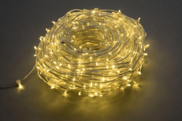 LED клип-лайт, длина 100М без трансформатора, тёплый белый, прозрачный провод 1