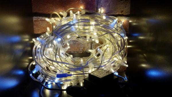 LED клип-лайт Flash, длина 100М без трансформатора, тёплый белый/белый флэш, прозрачный провод (с насадкой-колпачек)