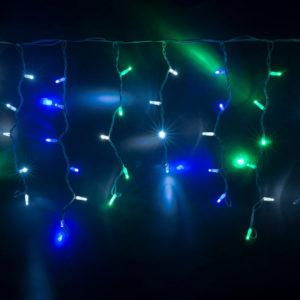 Гирлянда Айсикл 4,8 х 0,6 м, МЕРЦАЮЩАЯ, белый провод КАУЧУК, свечение мульти/мерцание белое