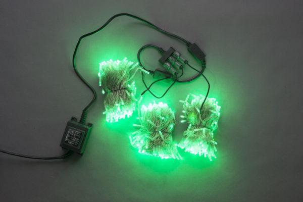 Гирлянда-спайдер Flash 3х20м, 600LED, прозрачный провод, зеленый/зеленый флеш