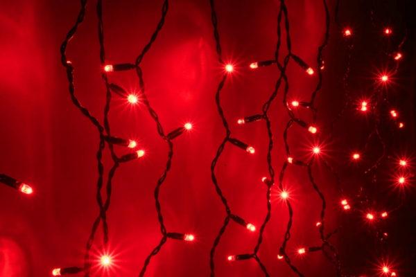 Гирлянда Айсикл 3,2 х 0,8 м, черный провод ПВХ, свечение красное/мерцание красное 1