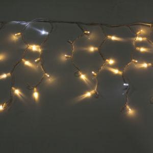 Гирлянда Айсикл 4,8 х 0,6 м, МЕРЦАЮЩАЯ, белый провод КАУЧУК, свечение тепло-белое/мерцание белое