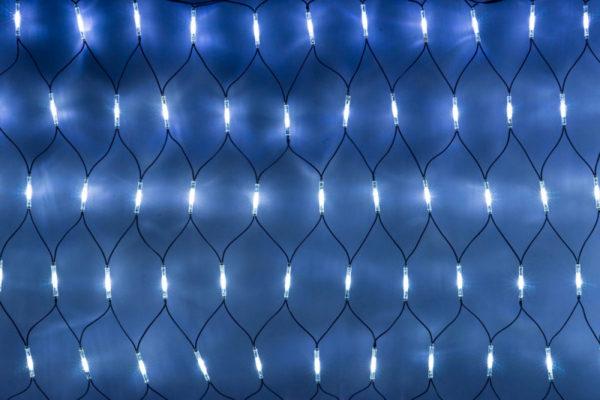Гирлянда-сеть 2х1,5м, черный КАУЧУКОВЫЙ провод, свечение с динамикой, белый/синий