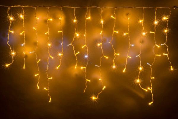 Гирлянда Айсикл 3,2 х 0,8 м, белый провод ПВХ, свечение тепло-белое/мерцание белое