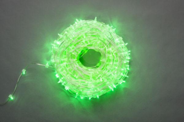 LED клип-лайт Flash, длина 100М без трансформатора, зелёный/зеленый флэш, прозраный провод