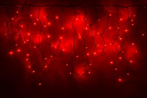 Гирлянда Айсикл 3,2 х 0,8 м, черный провод ПВХ, свечение красное/мерцание красное