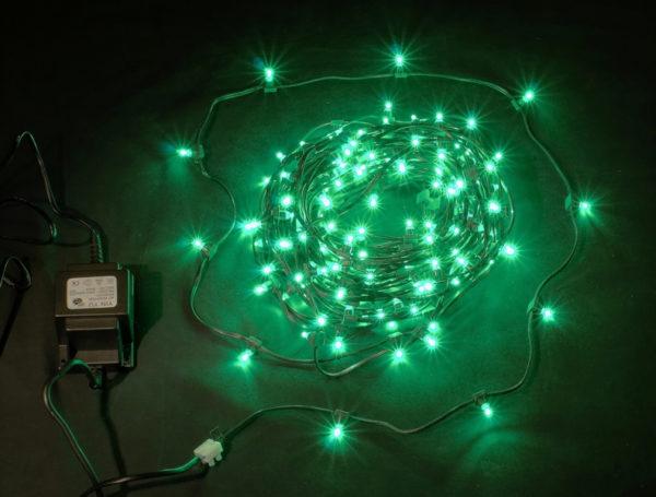 LED клип-лайт, длина 100М без трансформатора, зеленый, темно-зеленый провод