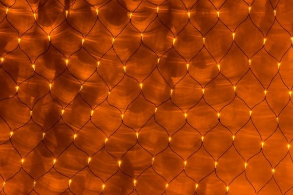Гирлянда-сеть 2х1,5м, черный ПВХ провод, постоянное свечение, желтая