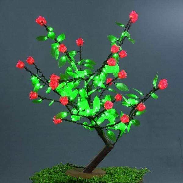 Куст розы 224LED, 0,8х0,8м, красные розы/зеленые листья 1