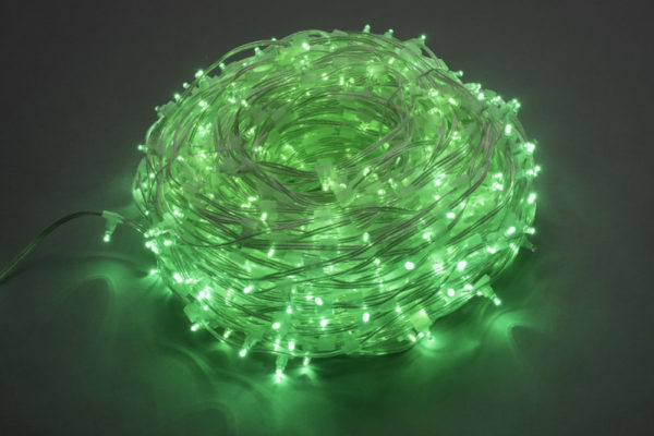 LED клип-лайт Flash, длина 100М без трансформатора, зелёный/зеленый флэш, прозраный провод 1