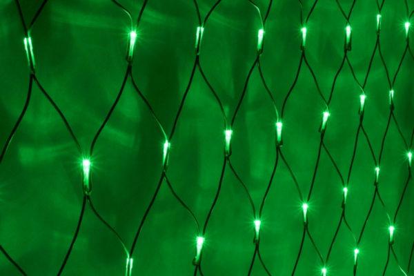 Гирлянда-сеть 2х3м, черный ПВХ провод, постоянное свечение, зеленая 1