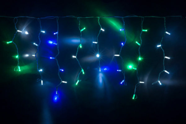 Гирлянда Айсикл 4,8 х 0,6 м, черный провод КАУЧУК, свечение мульти