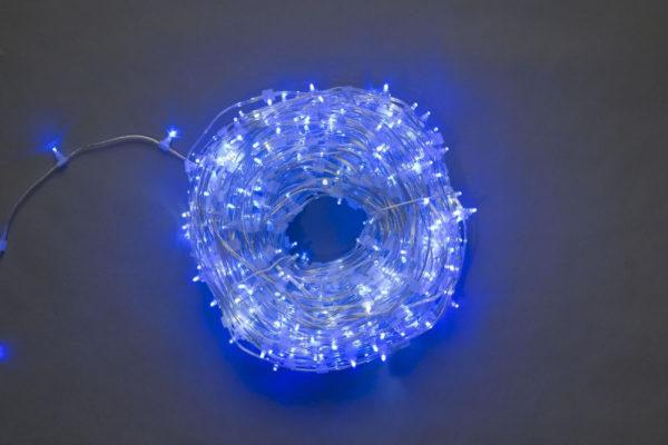 LED клип-лайт, синий, прозрачный провод (с насадкой-колпачек)