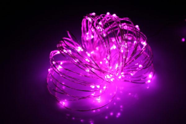 LED Роса 10м, розовая