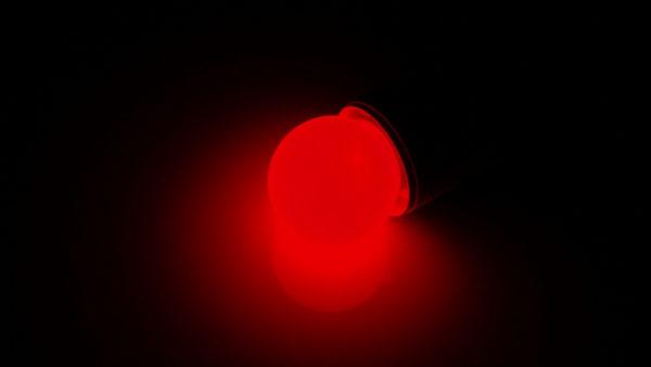 LED лампа - шарик с цоколем E27, 40 мм, (5 светодиодов), матовые, красный