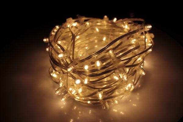 LED клип-лайт, тёплый белый, прозрачный провод (с насадкой-колпачек)