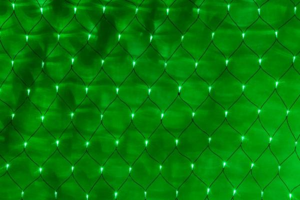 Гирлянда-сеть 2х3м, черный ПВХ провод, постоянное свечение, зеленая