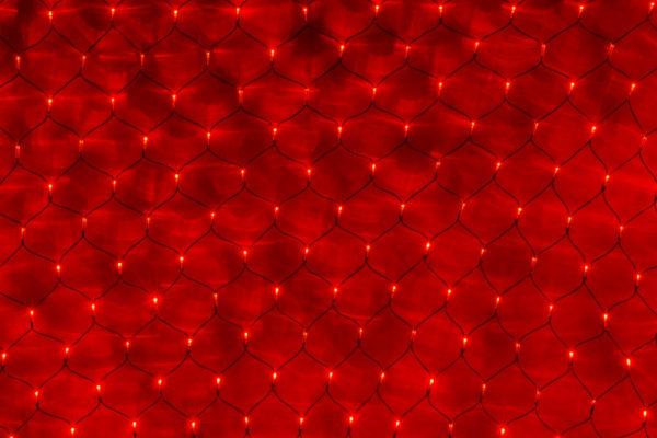 Гирлянда-сеть 2х1,5м, черный ПВХ провод, постоянное свечение, красная