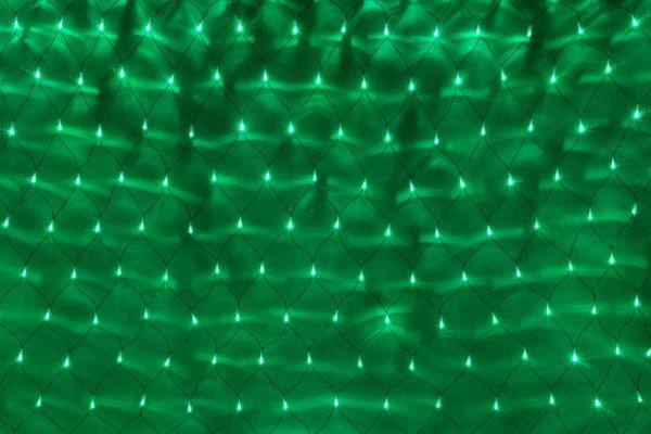 Гирлянда-сеть 2х1,5м, черный ПВХ провод, с контроллером, зеленый