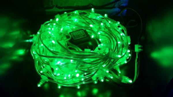 LED клип-лайт Flash, длина 100М без трансформатора, зелёный/зеленый флэш, прозрачный провод (с насадкой-колпачек) 1