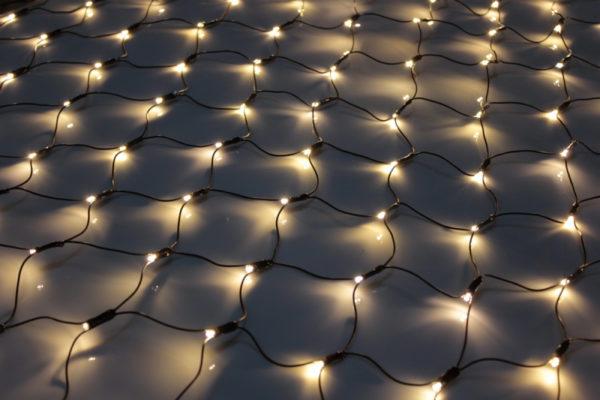 Гирлянда-сеть 2х1,5м, черный ПВХ провод, постоянное свечение, тепло-белая 1