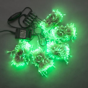 Гирлянда-спайдер Flash 5х20м, 1000LED, прозрачный провод, зеленый/зеленый флэш