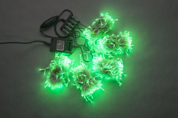Гирлянда-спайдер Flash 5х20м, 1000LED, прозрачный провод, зеленый/зеленый флэш 1