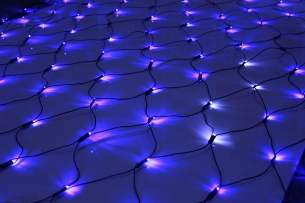 Гирлянда-сеть 2х3м, черный ПВХ провод, с мерцанием, синяя (белый флэш)