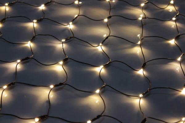 Гирлянда-сеть 2х1,5м, черный ПВХ провод, постоянное свечение, тепло-белая 2