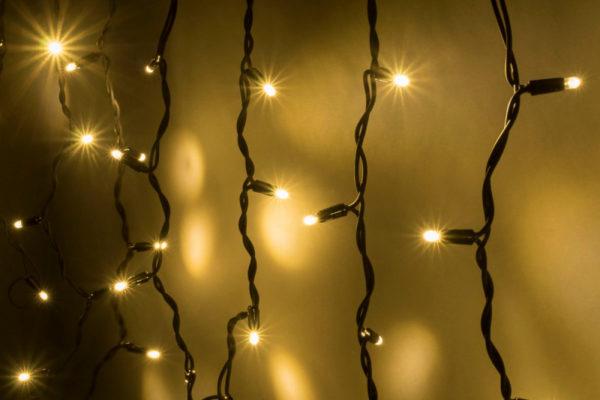 Гирлянда Айсикл 4,8 х 0,6 м, черный провод КАУЧУК, свечение тепло-белое (без силового шнура) 1