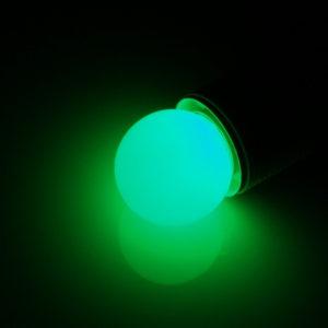 LED лампа – шарик с цоколем E27, 40 мм, (5 светодиодов), матовые, зеленый