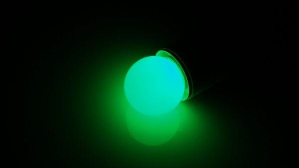 LED лампа - шарик с цоколем E27, 40 мм, (5 светодиодов), матовые, зеленый