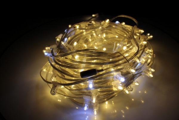 LED клип-лайт Flash, длина 100М без трансформатора, тёплый белый/белый флэш, прозрачный провод (с насадкой-колпачек) 1