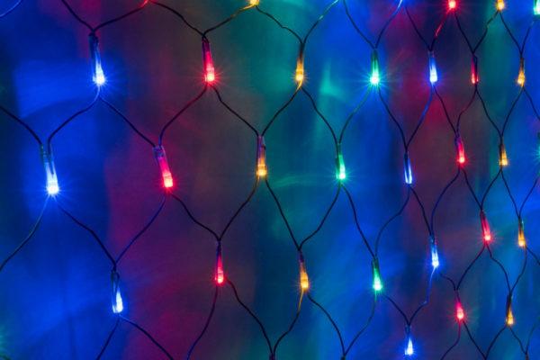 Гирлянда-сеть 2х2м, черный ПВХ провод, постоянное свечение, мульти 1