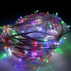 LED клип-лайт Flash, длина 100М без трансформатора, мульти/белый флэш, прозрачный провод  (с насадкой-колпачек)