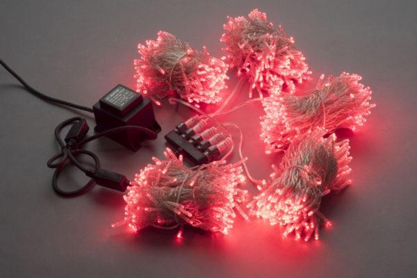 Гирлянда-спайдер Flash 5х20м, 1000LED, прозрачный провод, красный/красный флэш 1