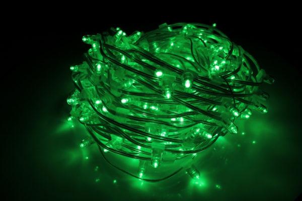 LED клип-лайт Flash, длина 100М без трансформатора, зелёный/зеленый флэш, прозрачный провод (с насадкой-колпачек)