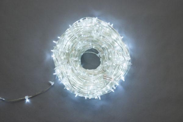 LED клип-лайт Flash, длина 100М без трансформатора, белый/белый флэш, прозрачный провод
